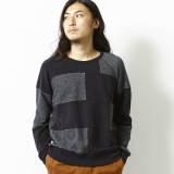 [ゴーヘンプ]CREW PK SWEAT/ H/C TERRY -PATCHWORK-