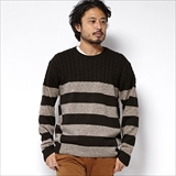 [ゴーウエスト]PANEL CABLE CREW/ W/CASHMERE KNIT