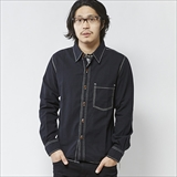 [ゴーウエスト]BLK CHAMBRAY WORK SHIRTS/ONE WASH