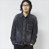 [ゴーウエスト]BLK CHAMBRAY WORK SHIRTS/USED WASH
